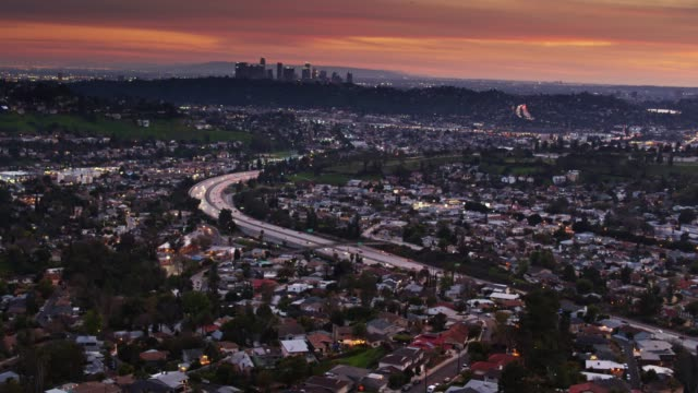 los angeles and glendale at dusk - aerial - glendale california stock videos & royalty-free footage