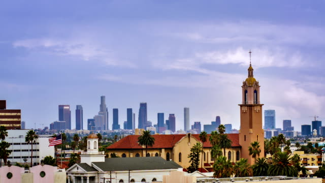 Los Angeles business district from hollywood