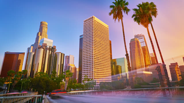 Los Angeles business downtown in sunset light