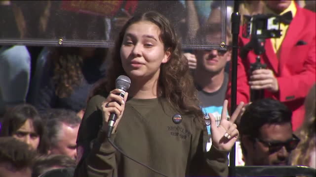 los angeles, ca, u.s. - activist nalleli cobo speaking at climate change rally in los angeles, on friday, february 7, 2020. - young women stock videos & royalty-free footage