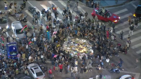 los angeles, ca, u.s. - aerial view of black lives matter protest in hollywood, on sunday, june 7, 2020. - memorial video stock e b–roll