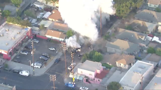los angeles, ca, u.s. - aerial view of detonation of illegal fireworks that left 17 injured, including 10 lapd officers, on wednesday, june 30, 2021. - helicopter point of view stock videos & royalty-free footage