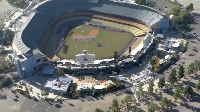 los angeles, ca, u.s. - aerial view of dodger stadium during tommy lasorda tribute event. on saturday, january 9, 2021. - tribute event stock videos & royalty-free footage