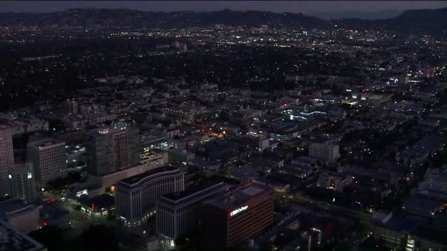ktla los angeles ca us aerial view of downtown los angeles on wednesday aug 21 2019 - twilight stock videos & royalty-free footage
