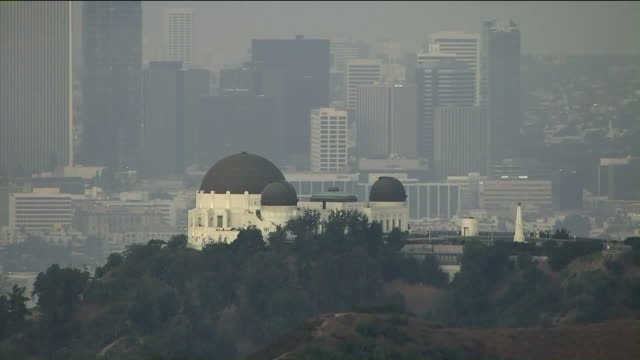 los angeles, ca, u.s., - aerial view of griffith observatory, on friday, sep 6, 2019. - griffith observatory stock videos & royalty-free footage