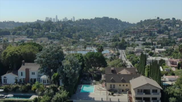 ktla los angeles ca us aerial view of los feliz neighborhood on wednesday october 2 2019 - city of los angeles stock videos & royalty-free footage