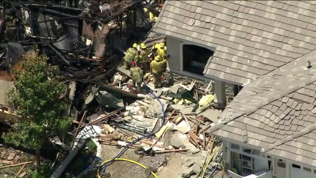 ktla los angeles ca us aerial view of rubbles after gas explosion on monday july 15 2019 - rubble stock videos & royalty-free footage
