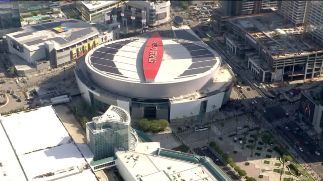 ktla los angeles ca us aerial view of staples center where mourners gathering for kobe and gianna bryant memorial on monday february 24 2020 - staples center video stock e b–roll
