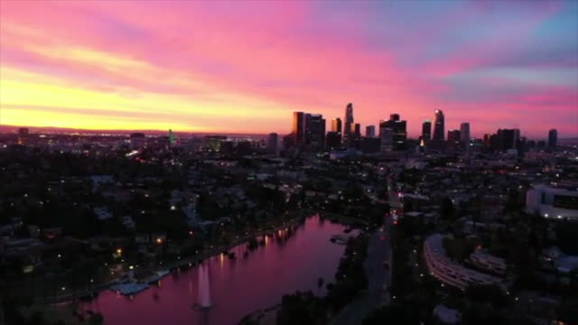 los angeles, ca, u.s. - aerial views of echo park at sunrise on sunday, december 22, 2019. - pink stock videos & royalty-free footage