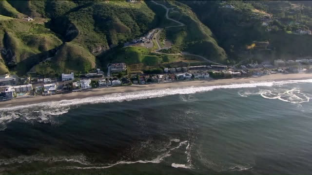 los angeles, ca, u.s. - aerial views of malibu suburbs and coast with beaches reopened after the coronavirus lockdown on wednesday, may 13, 2020. - malibu stock videos & royalty-free footage