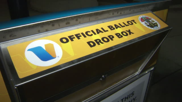 los angeles, ca, u.s. - close-up of a ballot drop box for early voting by mail in the 2020 u.s. presidential election, on monday, october 12, 2020. - ballot box stock videos & royalty-free footage
