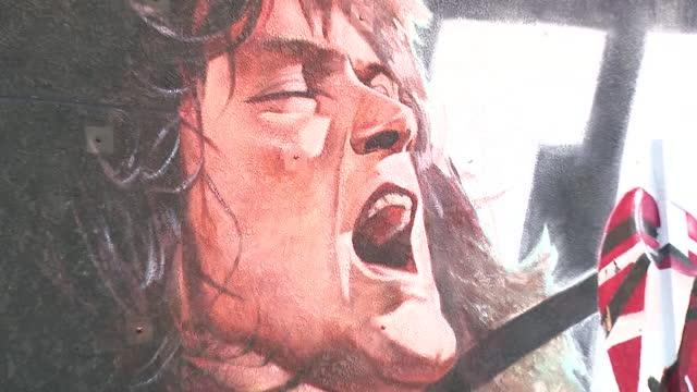 los angeles, ca, u.s. - close-ups of eddie van halen mural on wednesday, january 27, 2021. - male likeness stock videos & royalty-free footage