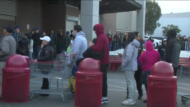 los angeles, ca, u.s., - coronavirus panic buying brings long lines to costco, on monday, mar 16, 2020. - waiting in line stock videos & royalty-free footage