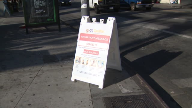 ktla – los angeles ca us covid19 information sign on picounion sidewalk on wednesday july 15 2020 - information sign stock videos & royalty-free footage