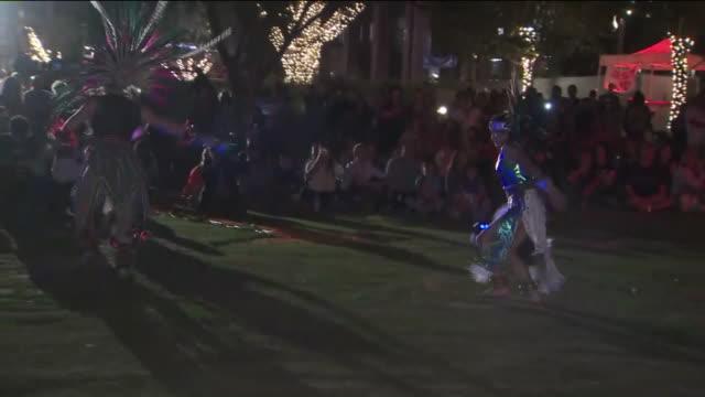 ktla los angeles ca us dancers performing at día de los muertos in grand park on saturday october 26 2019 - día stock videos & royalty-free footage