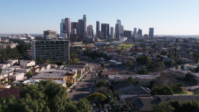 los angeles, ca, u.s., - drone aerial of downtown skyline from echo park, on wednesday, may 6, 2020. - city of los angeles stock videos & royalty-free footage