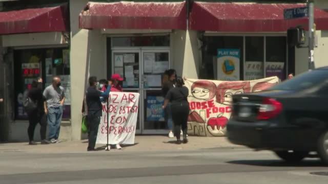 los angeles, ca, u.s. - east rent strike during covid-19 pandemic on tuesday, april 21, 2020. - 借りる点の映像素材/bロール