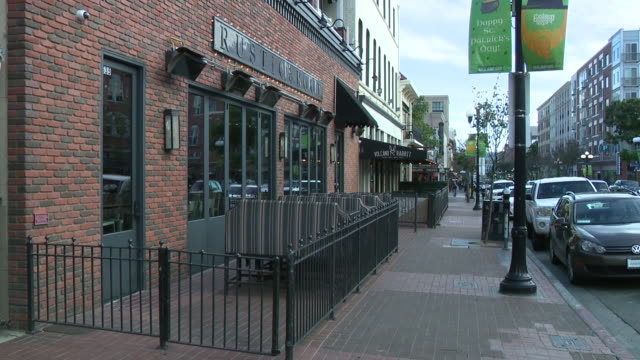 ktla los angeles ca us empty bars and restaurants in gaslamp district during coronavirus pandemic on wednesday march 18 2020 - restaurant stock videos & royalty-free footage