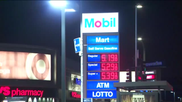 ktla los angeles ca us gas prices on different stations at night on monday september 30 2019 - conocophillips stock videos & royalty-free footage