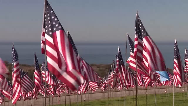 los angeles, ca, u.s. - hundreds of american flags displayed on pepperdine university lawn to commemorate anniversary of 9/11 attacks on saturday,... - malibu stock videos & royalty-free footage