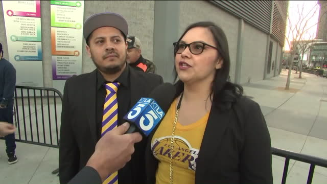 ktla los angeles ca us interview with kobe bryant fans in front of staples center in time of kobe and gianna bryant memorial on monday february 24... - number 8 stock videos & royalty-free footage