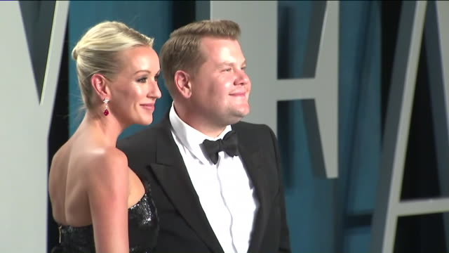 los angeles, ca, u.s, - julia carey and james corden attend the 2020 vanity fair oscar party hosted by radhika jones at wallis annenberg center for... - oscar party stock videos & royalty-free footage