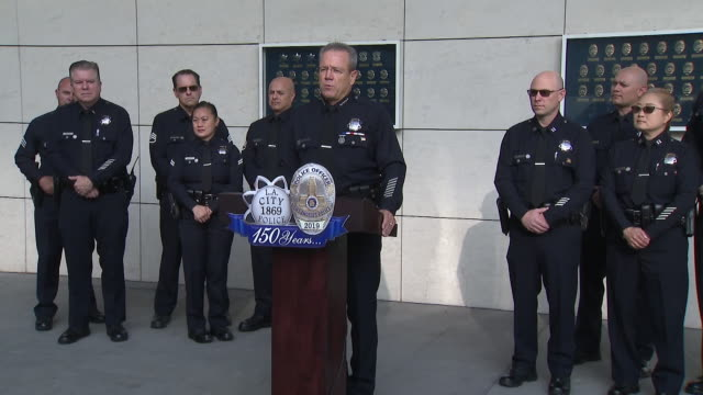los angeles, ca, u.s. - lapd chief michael moore introduces the 150th anniversary badge during the anniversary celebration on wednesday, september... - los angeles police department stock videos & royalty-free footage