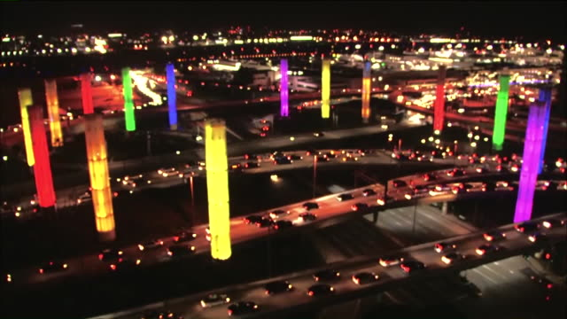 stockvideo's en b-roll-footage met ktla los angeles ca us lax lights up pylons in rainbow colors to celebrate pride month on tuesday june 30 2019 - lax airport