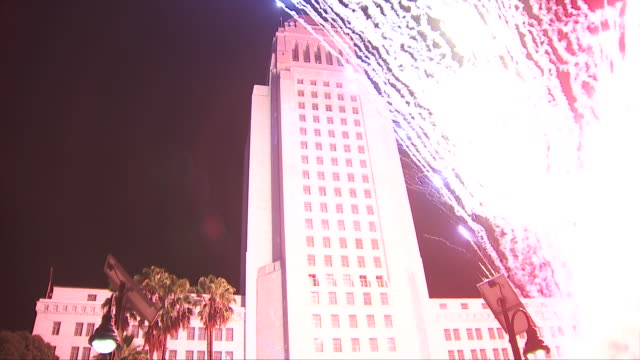 los angeles, ca, u.s. - new year's eve countdown at grand park , on tuesday, december 31, 2019. - countdown stock videos & royalty-free footage