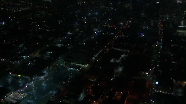 ktla los angeles ca us nighttime cityscape with staples center aerial on thursday october 17 2019 - staples centre stock videos & royalty-free footage