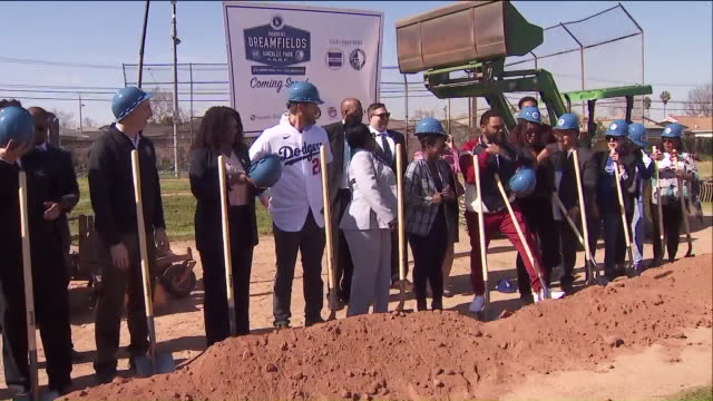 los angeles, ca, u.s. - people at gonzales park celebrating largest dodgers dreamfields project to-date during a groundbreaking event hosted by the... - baseball strip stock videos & royalty-free footage