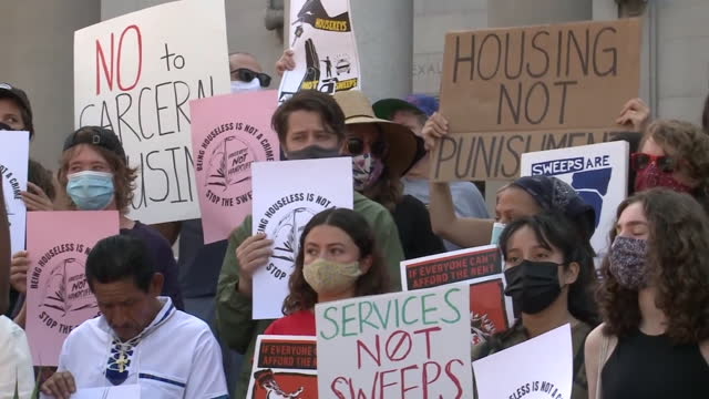 los angeles, ca, u.s. - people protesting against city council's measure to bar homeless encampments near schools, parks and other locations, on... - male likeness stock videos & royalty-free footage