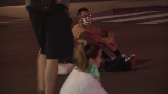 los angeles, ca, u.s. - people sitting in street at vigil for breonna taylor on monday, september 28, 2020. - candle stock videos & royalty-free footage