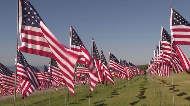 los angeles, ca, u.s. - pepperdine university memorial event commemorating 20th anniversary of 9/11 attacks with hundreds of flags on saturday,... - malibu stock videos & royalty-free footage