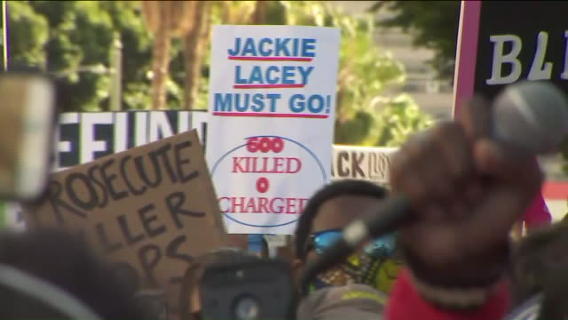 los angeles, ca, u.s. - protest against lapd brutality on wednesday, june 10, 2020. - los angeles police department stock videos & royalty-free footage