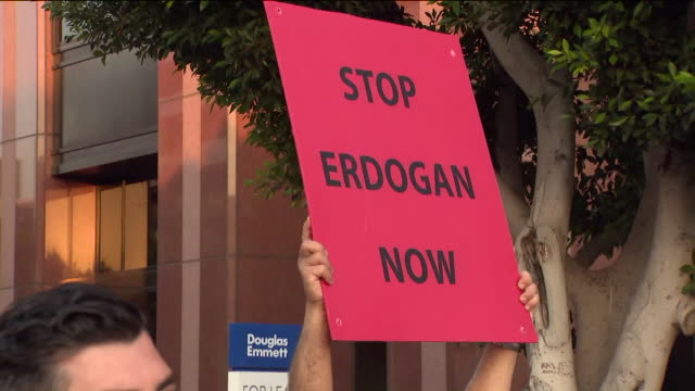 los angeles, ca, u.s. - protestors hold posters at an armenian azerbaijan protest on wednesday, september 30, 2020. hundreds of armenians in los... - other stock videos & royalty-free footage