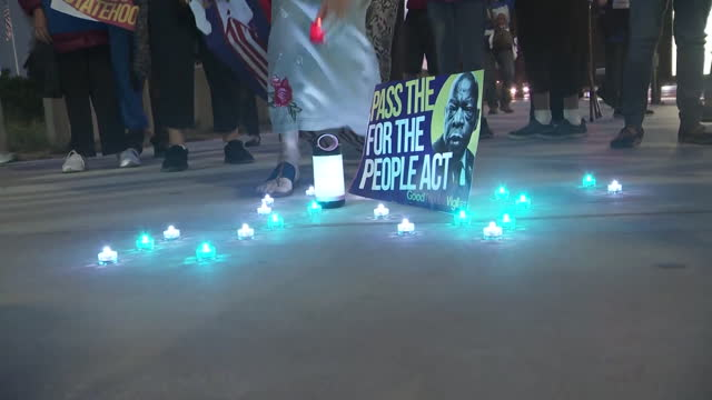 los angeles, ca, u.s. - rep. john lewis' candlelight vigil and voter suppression protest, on saturday, july 17, 2021. - male likeness stock videos & royalty-free footage