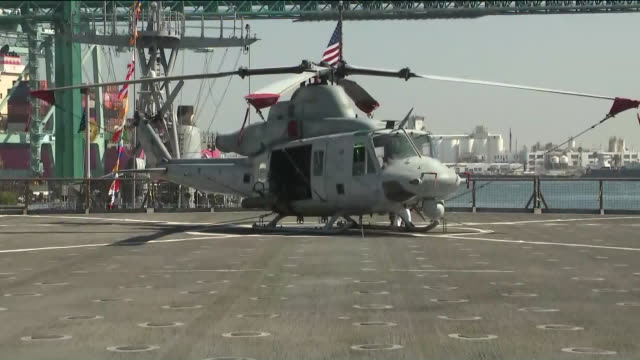 los angeles, ca, u.s. - s 4th annual fleet week preview at port of los angeles, san pedro, california, u.s., on thursday, august 28, 2019. - week video stock e b–roll
