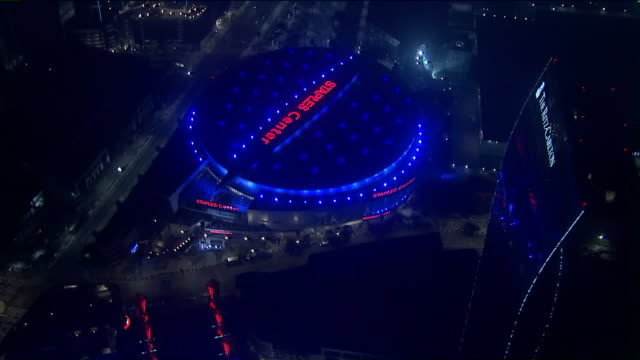 ktla los angeles ca us staples center by night aerial on thursday october 17 2019 - staples centre stock videos & royalty-free footage