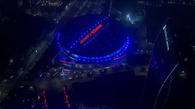 ktla los angeles ca us staples center by night aerial on thursday october 17 2019 - staples center stock videos & royalty-free footage