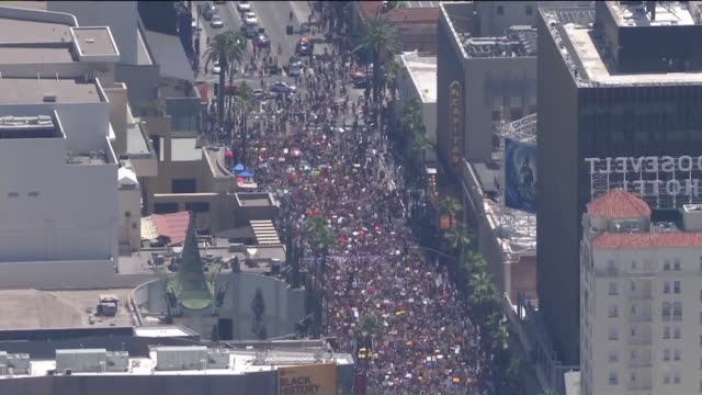 ktla los angeles ca us thousands of protesters marching through hollywood for 'all black lives matter' solidarity on sunday june 14 2020 - soziale gerechtigkeit stock-videos und b-roll-filmmaterial