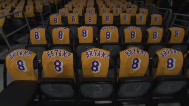 ktla los angeles ca us tribute night at staples center where los angeles lakers honor kobe bryant and his daughter gigi by covering courtside seats... - number 8 stock videos & royalty-free footage