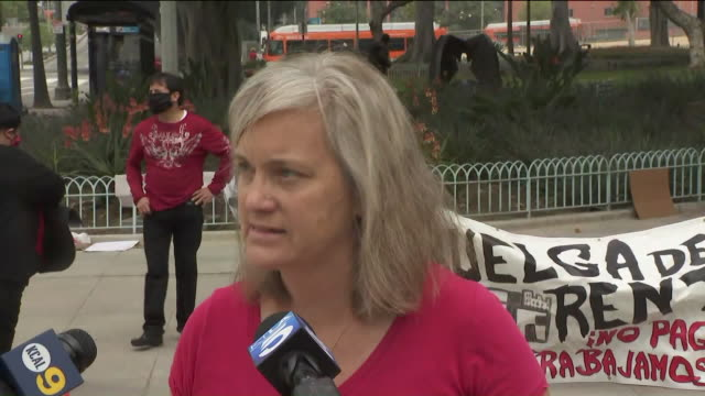 ktla los angeles ca us woman interviewed at cancel rent rally in downtown los angeles on thursday apr 30 2020 members of the la tenant union gathered... - hypotheken kündigung stock-videos und b-roll-filmmaterial