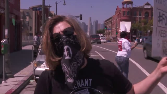 ktla los angeles ca us woman speaking about protest caused of covid19 pandemic which have led to a surge in unemployment tenants across california... - unemployment covid stock videos & royalty-free footage