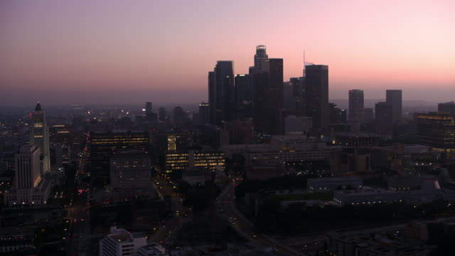 aerial los angeles, california at dusk - cityscape stock videos & royalty-free footage