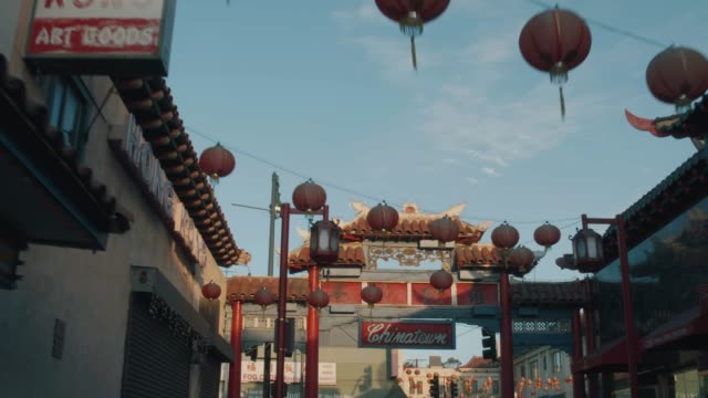 los angeles chinatown sign pull out shot - chinatown stock videos & royalty-free footage
