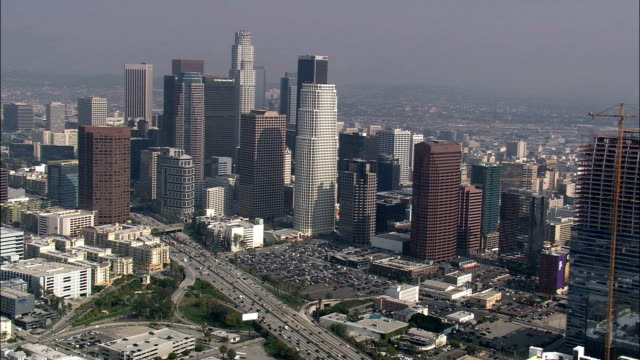 los angeles city from the south  - aerial view - california,  los angeles county,  united states - angel stock videos & royalty-free footage