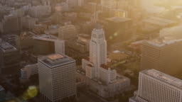 AERIAL Los Angeles City Hall in sunset