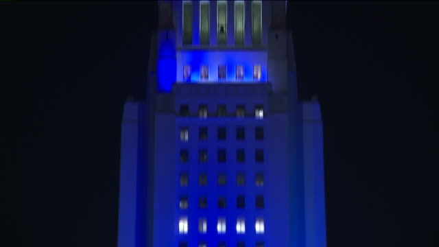 KTLA Los Angeles City Hall Lit Up Dodger Blue