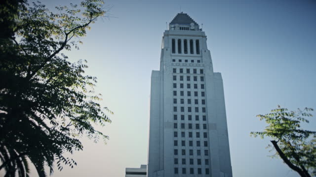 los angeles city hall tower - government building stock videos and b-roll footage